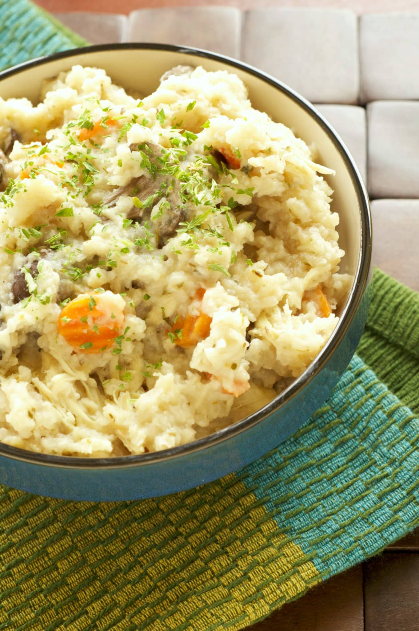 Slow Cooker Rosemary Chicken and Mushroom Risotto