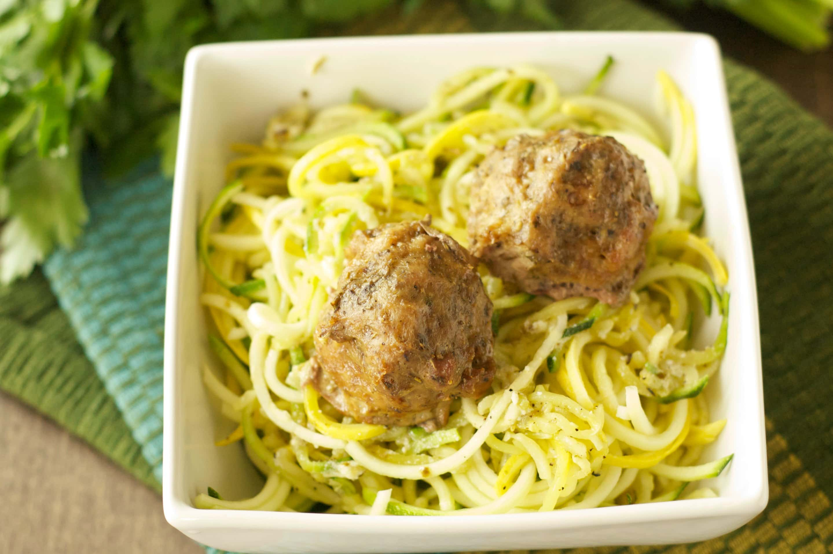 Slow Cooker Herbed Turkey Meatballs with Zucchini, Ricotta and Pesto ...