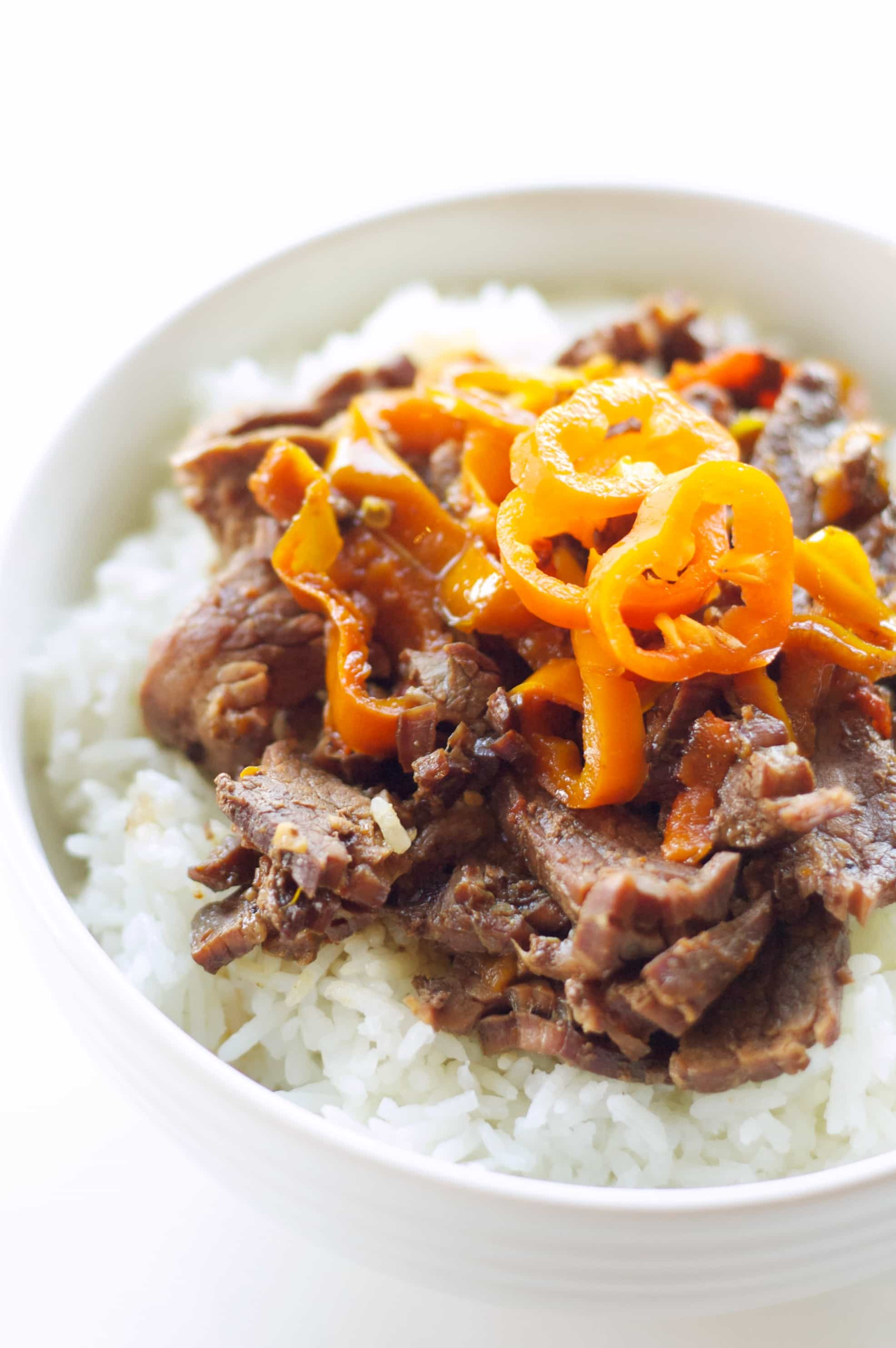 Slow Cooker Korean Beef with Baby Sweet Peppers