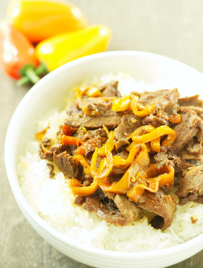 Slow Cooker Korean Beef with Sweet Baby Peppers