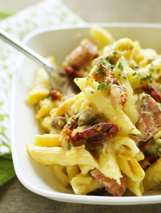 Slow Cooker Sausage Penne Bake with Sun-Dried Tomatoes and Spinach
