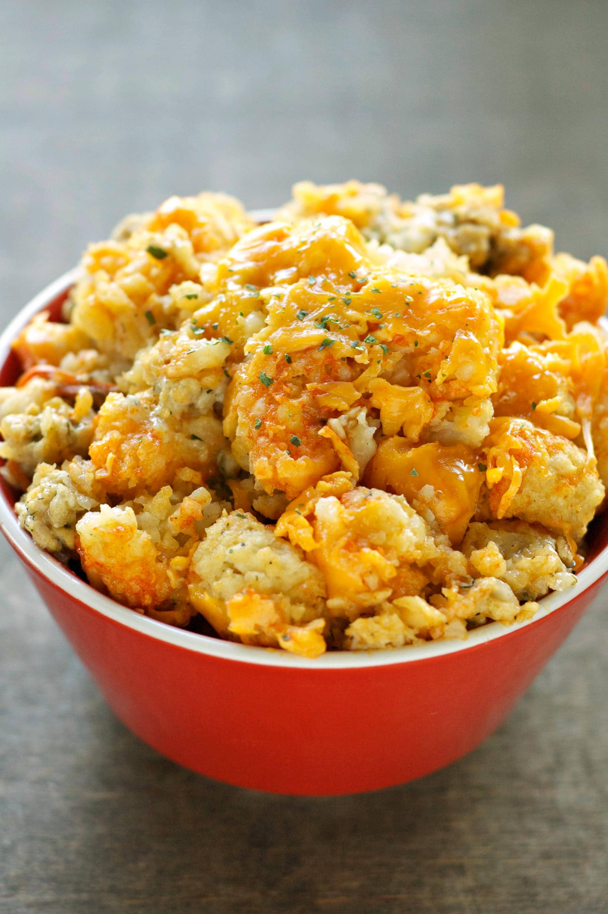 Slow Cooker Buffalo Chicken Tater Tot Casserole