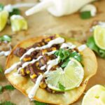 Slow Cooker Black Bean Corn and Basil Tostadas