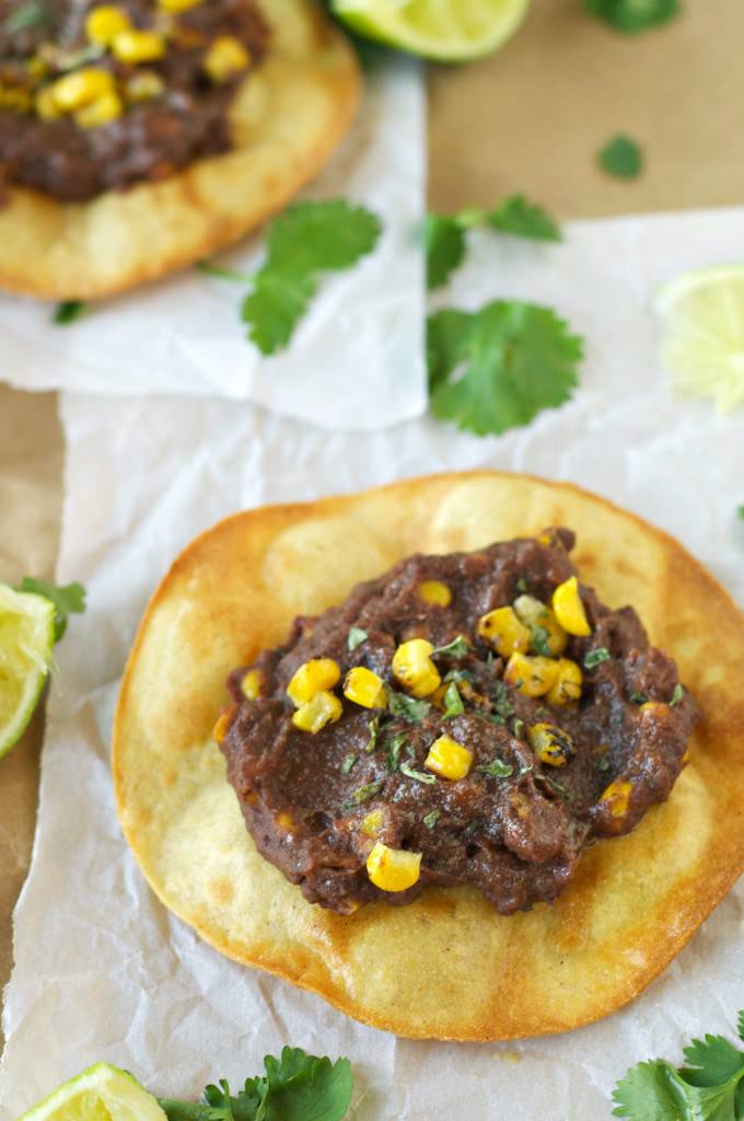 Slow Cooker Black Bean, Corn and Basil Tostadas