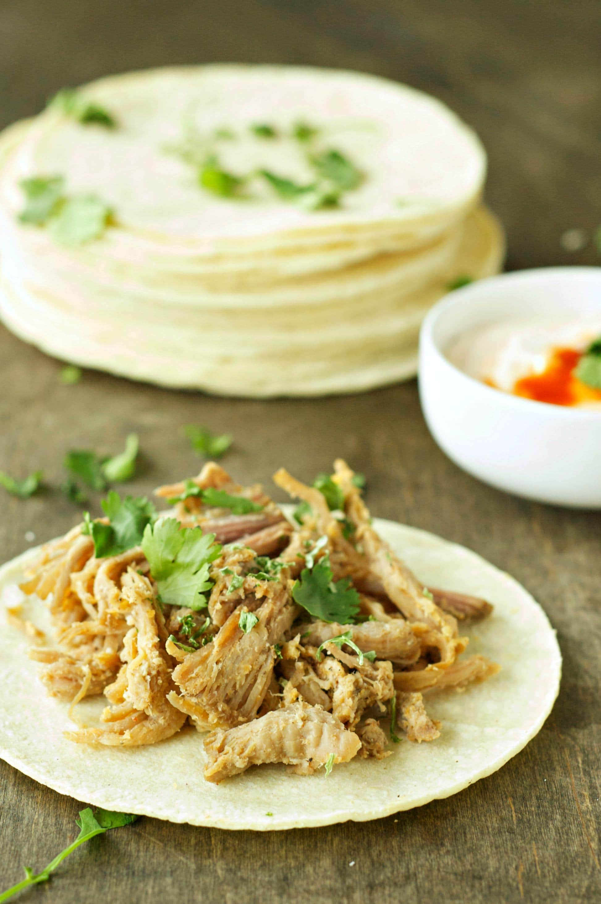 Slow Cooker Pork Tacos with Adobo Sour Cream