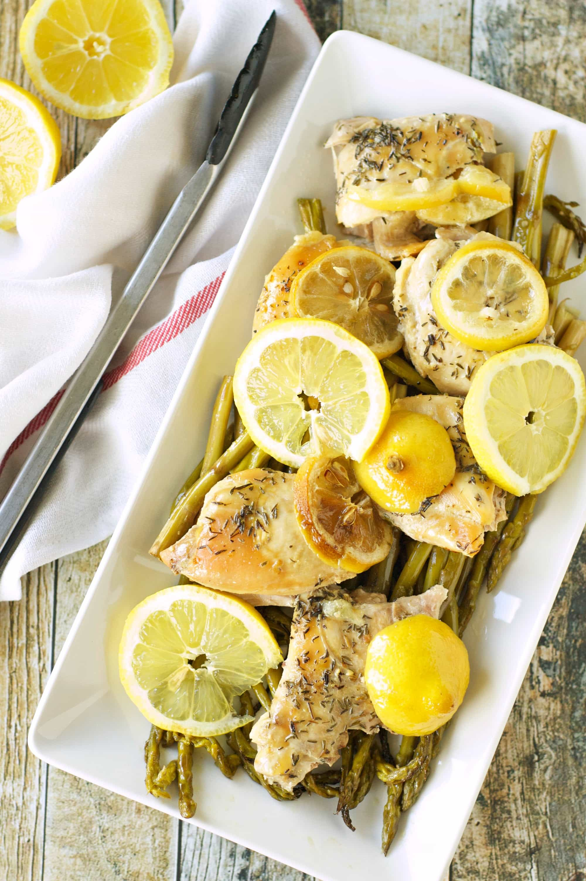 Slow Cooker Lemon Pepper Chicken with Asparagus
