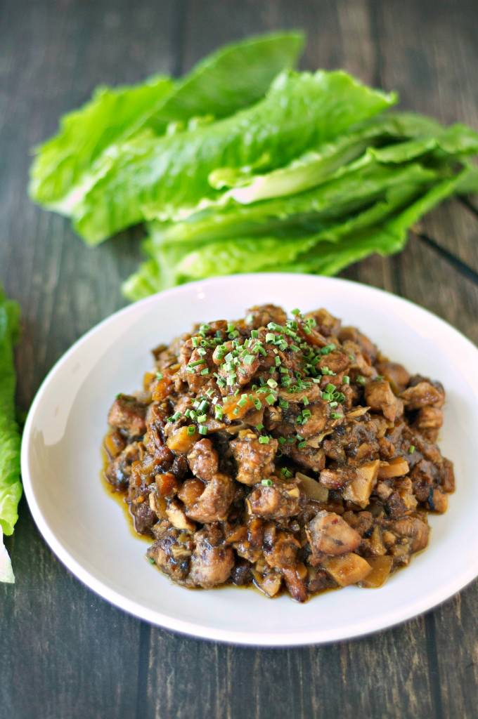 Slow Cooker Honey Garlic Chicken Lettuce Wraps