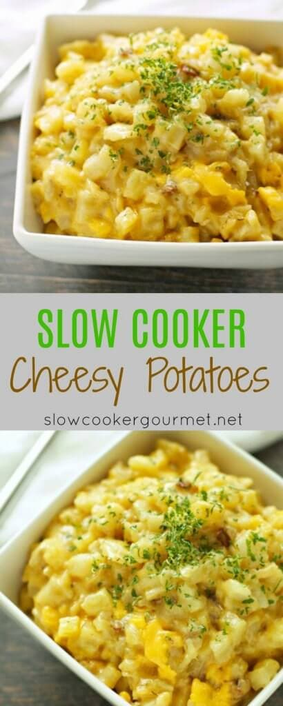 Slow Cooker Cheesy Potatoes with Caramelized Onion and Bacon are perfect for holiday dinners or anytime you need to serve a crowd!