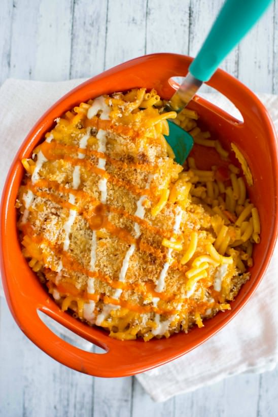 Baked Buffalo Chicken Mac and Cheese