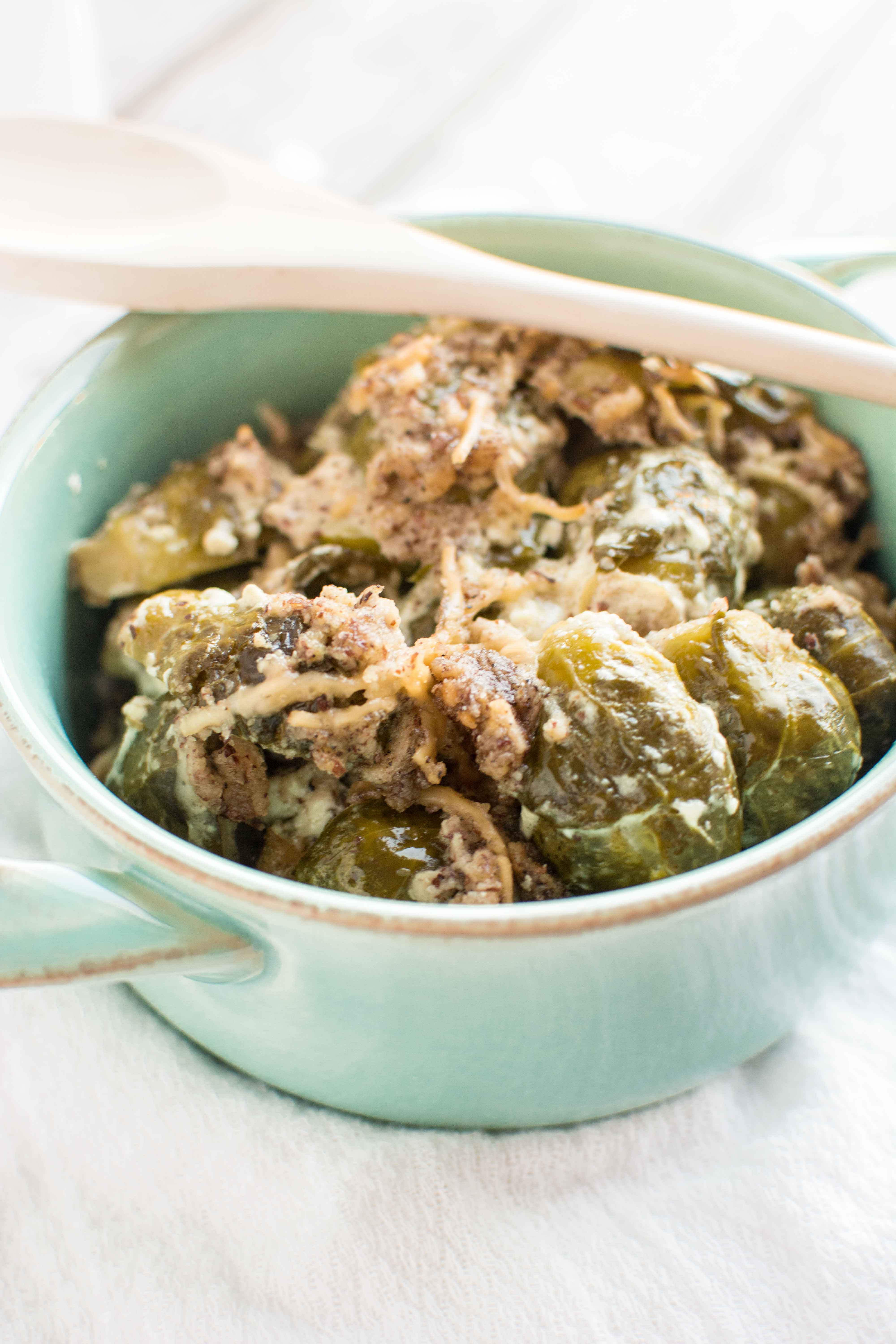 Slow Cooker Brussels Sprouts Gratin