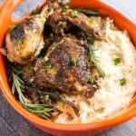 Slow Cooker Rosemary Balsamic Chicken + White Cheddar Mashed Potatoes