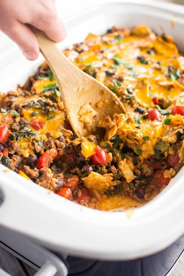 Slow Cooker Healthy Taco Casserole