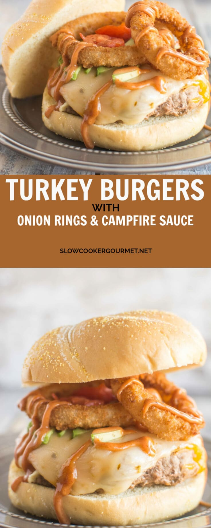 Delicious turkey burger with onion rings and a 3 ingredient campfire sauce.