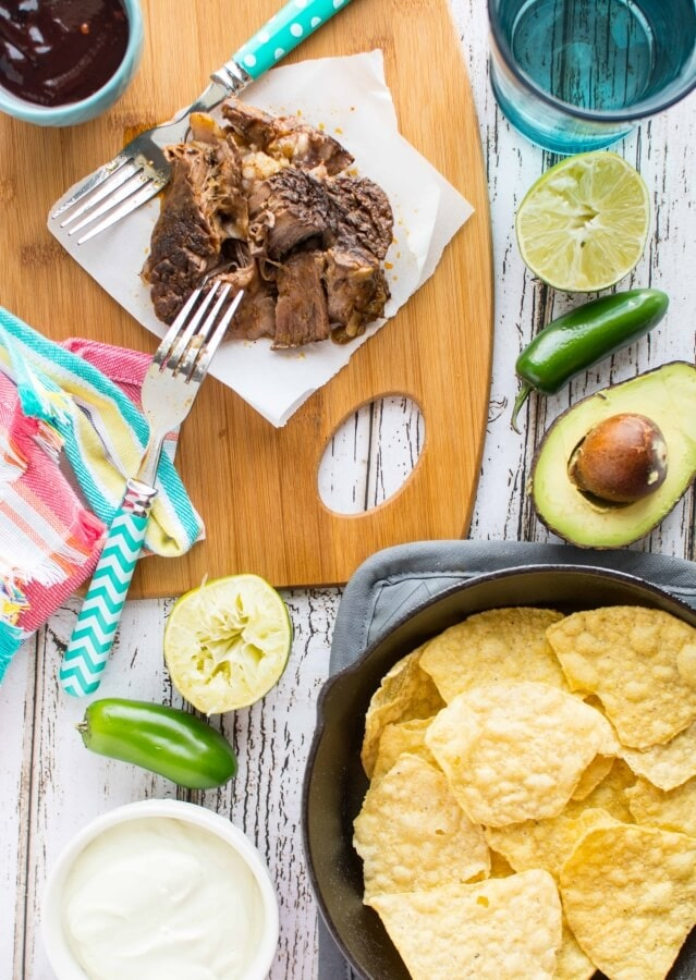 Slow Cooker Blueberry Chipotle BBQ Beef Nachos