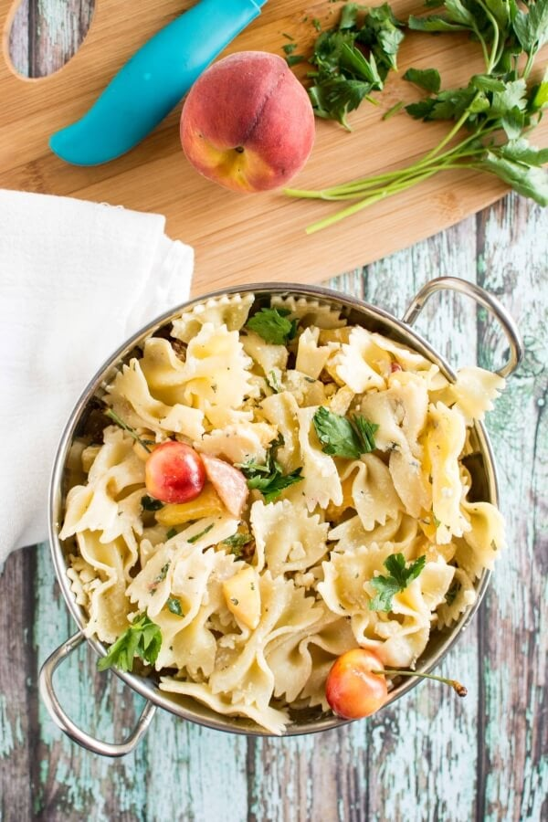 Peach and Goat Cheese Pasta Salad