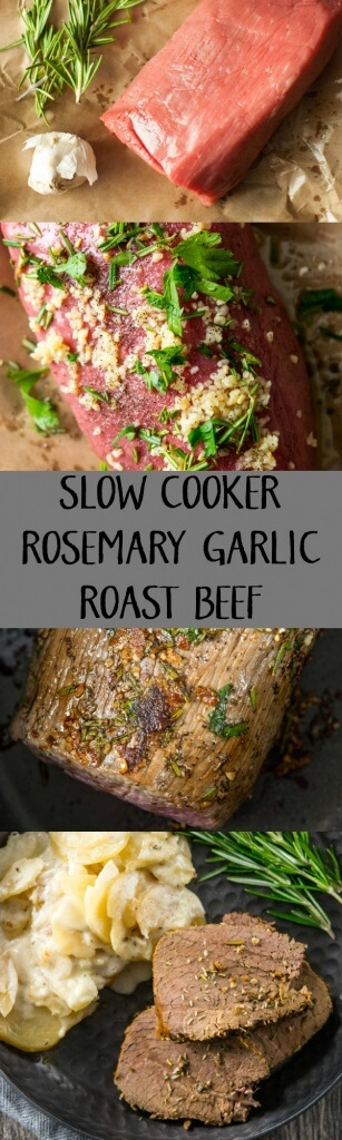 Slow Cooker Rosemary Garlic Roast Beef