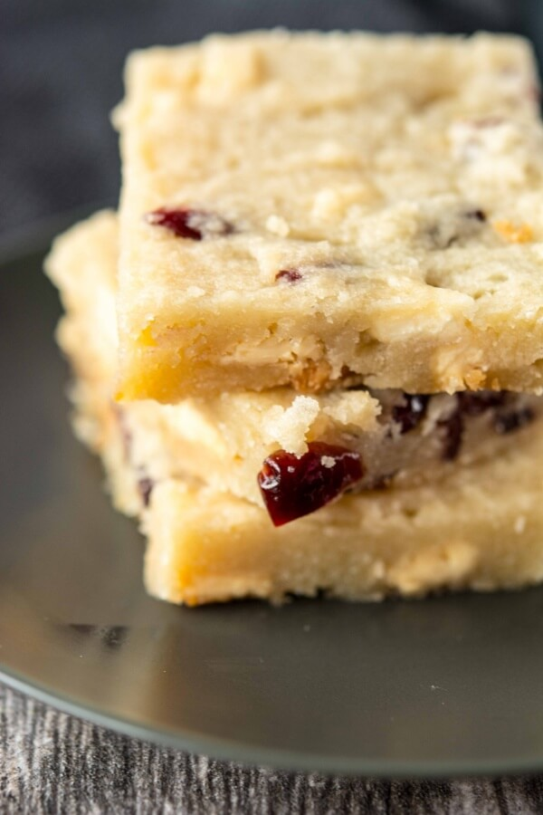 Slow Cooker White Chocolate Cranberry Shortbread Bars