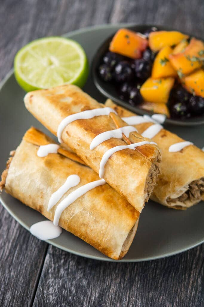 Slow Cooker Pulled Pork Flautas