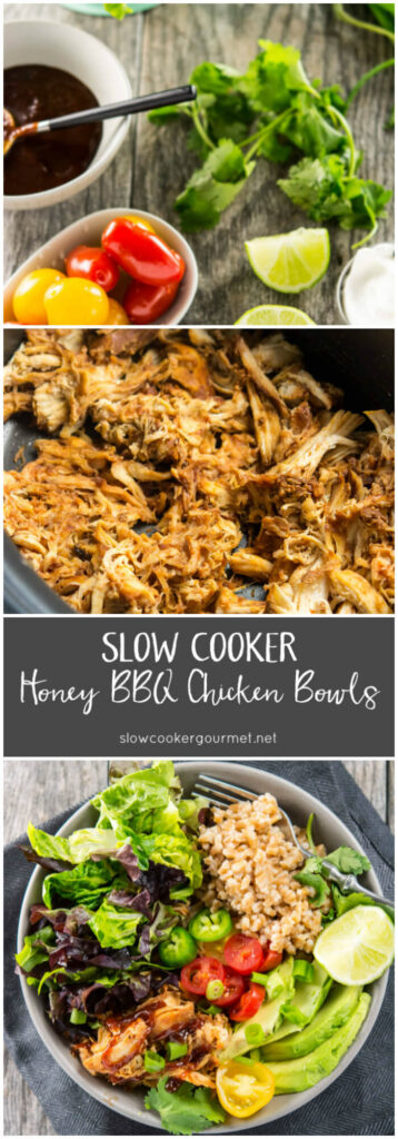 Slow Cooker Honey BBQ Chicken Bowls