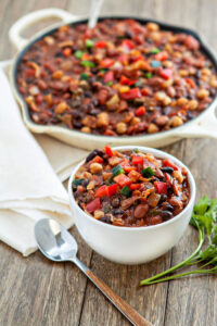 Baked Bean Trio with Bacon & Peppers