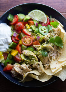 Slow Cooker Beer Chicken Taco Salad with Cilantro Vinaigrette
