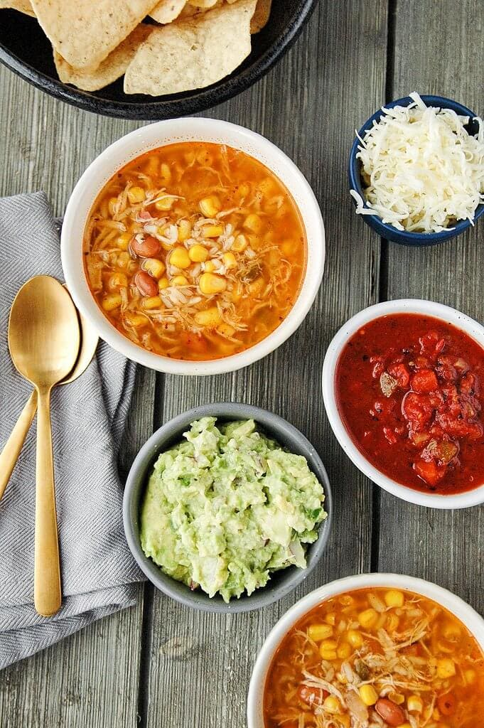 Slow Cooker Chicken And Pinto Bean Burrito Bowl Recipe — Dishmaps
