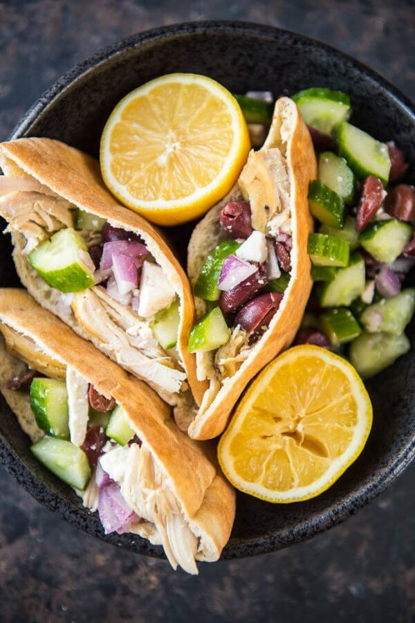 Slow Cooker Greek Chicken Wraps