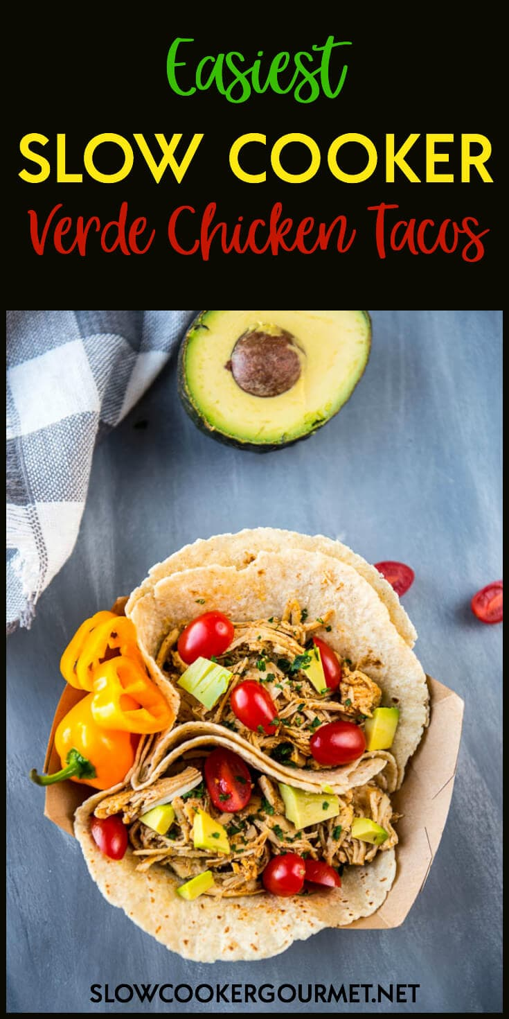 Slow Cooker Verde Chicken Tacos get the award for the easiest family dinner you will make this week! Only 5 ingredients plus all your favorite taco toppings!