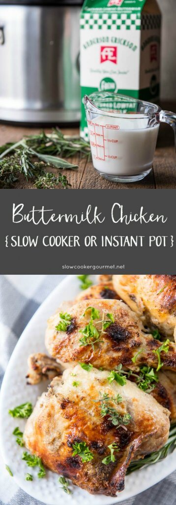 Delicious Buttermilk Chicken is a simple and quick weeknight family dinner that can be made in the slow cooker or Instant Pot!!