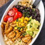Meal Prep Chicken Burrito Bowls {Pressure Cooker Whole Chicken}
