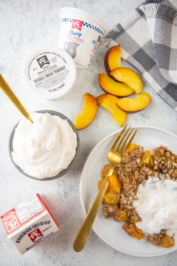 Slow Cooker Peach Cobbler with Fresh Peaches {and Yogurt Whipped Cream}