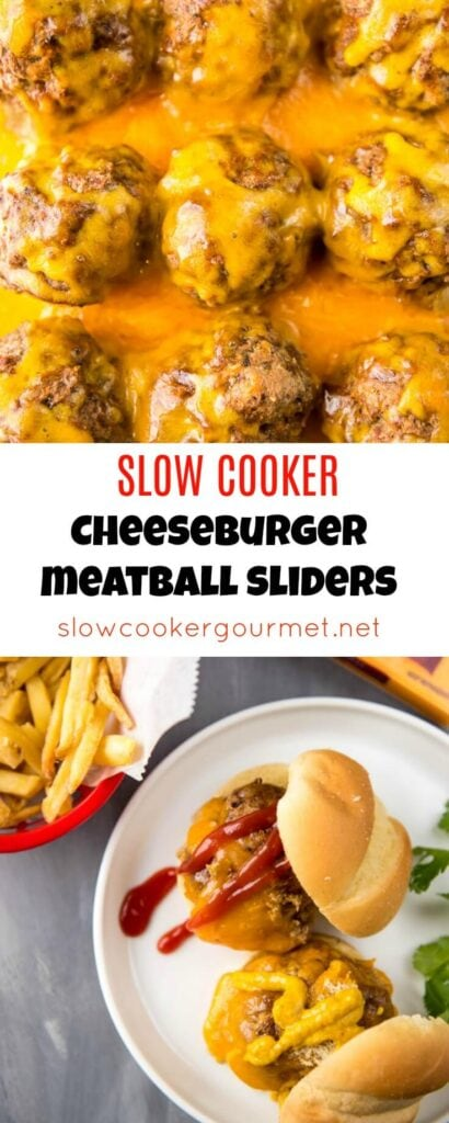Slow Cooker Cheeseburger Meatball Sliders are the perfect way to get your burger fix without all the work of firing up the grill! So easy and deliciously tasty! @CrystalFarms #CrystalFarmsCheese #CheeseLove #ad