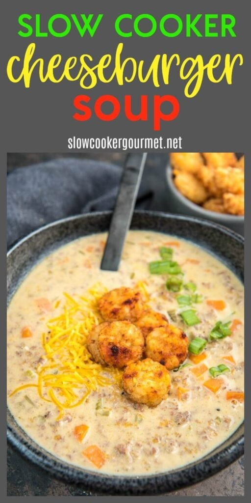Slow Cooker Cheeseburger Soup is a simple and tasty comfort food that is topped with crispy tater tot crowns for a winning meal!